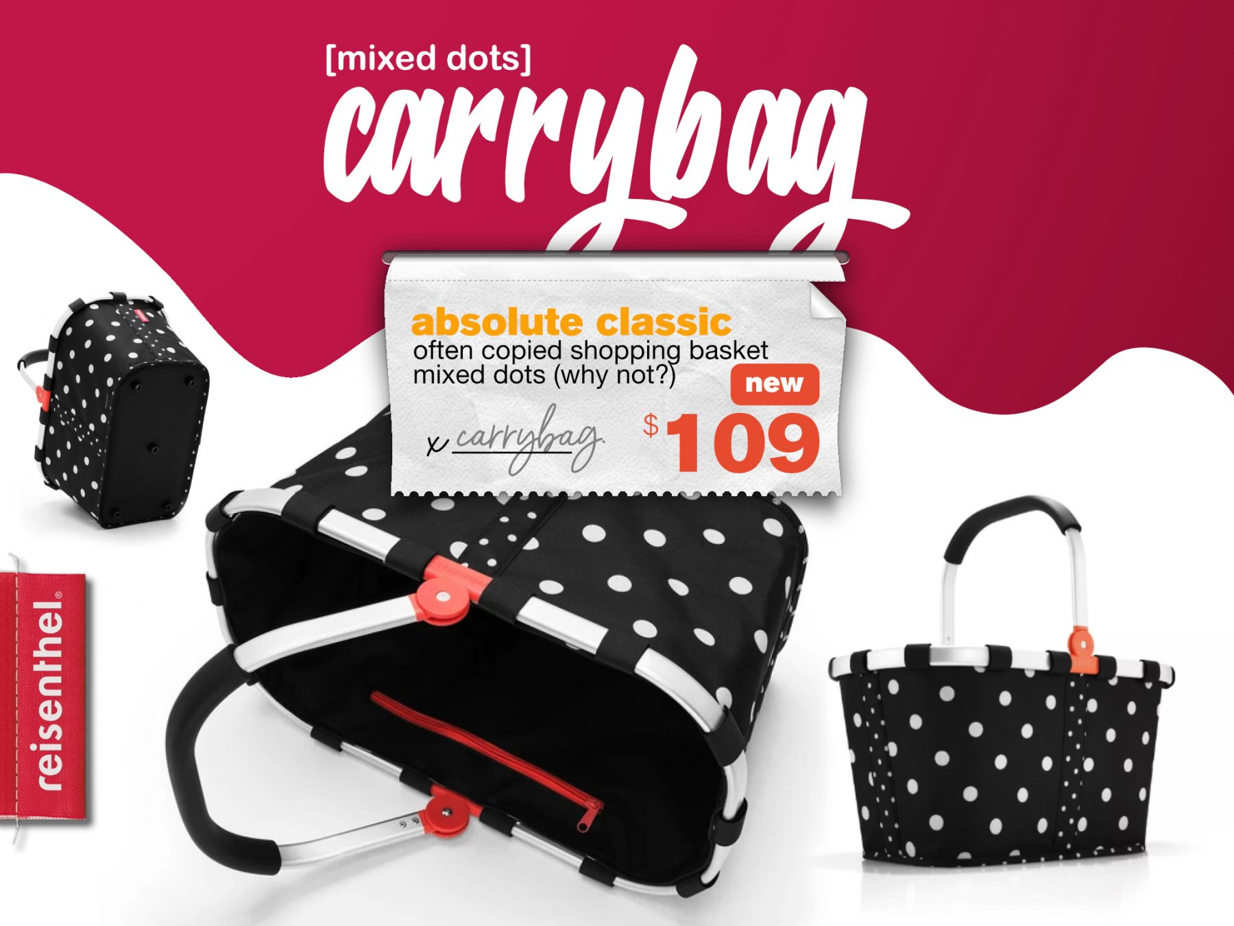 Berries & Cream Reisenthel Singapore Carrybag Mixed Dots